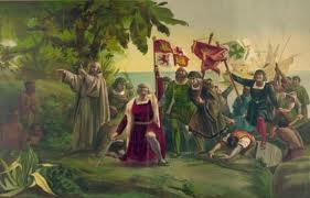 Columbus steps ashore