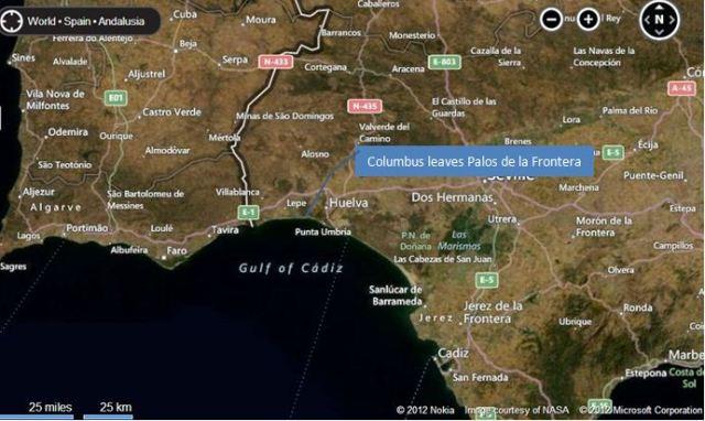 Leaves Spain.Map