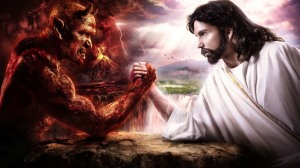 Jesus fights Satan